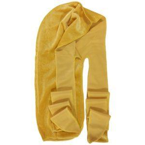 Présentation d'un durag Amazon en velours de couleur jaune
